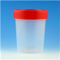 Container Specimen PP 4oz Urine Red Screw Cap