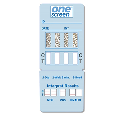 Onescreen 4 Panel Dip Card - (THC/COC/OPI/mAMP) - Expires 12/31/2018