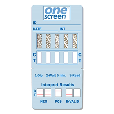 ONESCREEN 5 PANEL DIP CARD  - (THC/COC/OPI/BZO/OXY) - EXPIRES 4-30-18