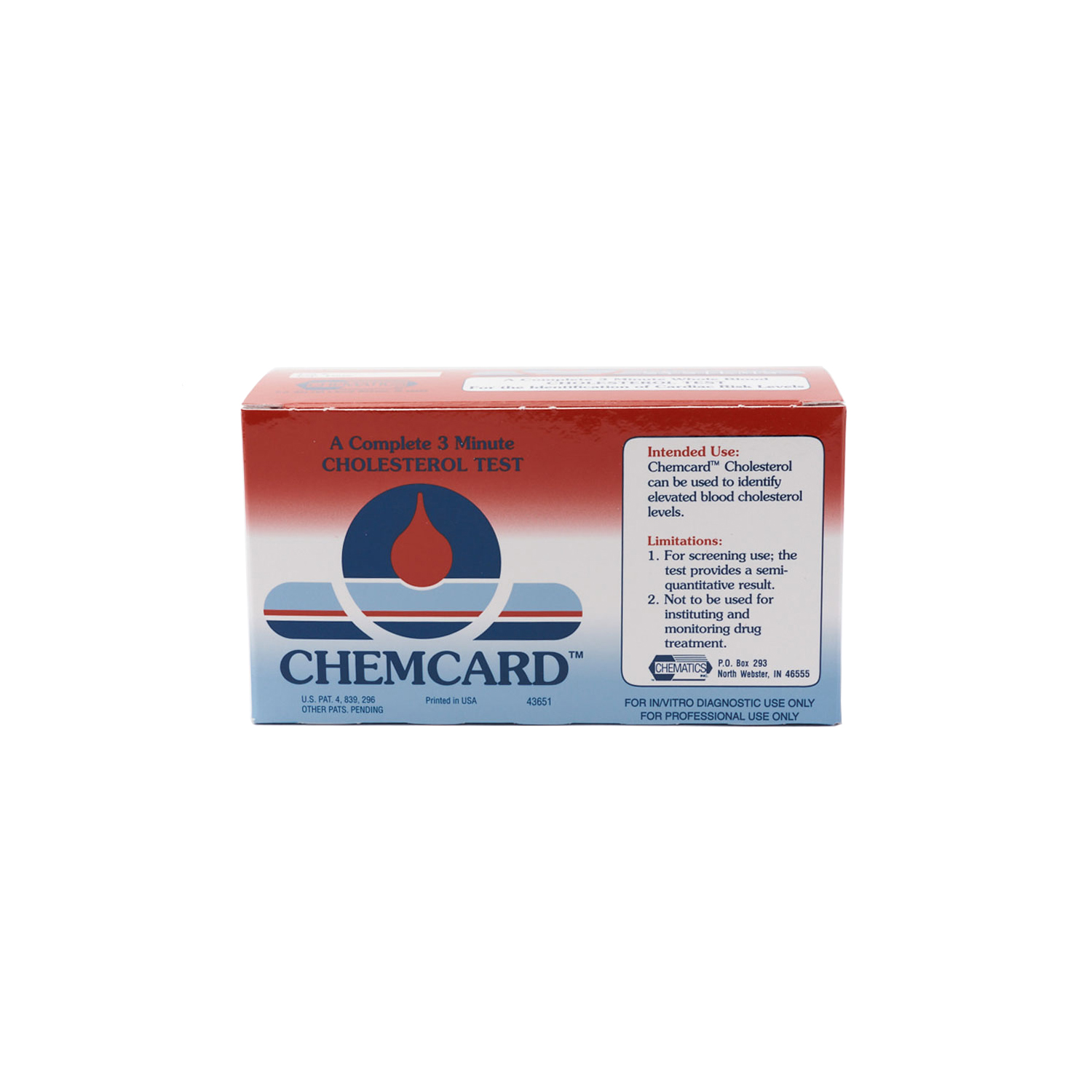 Chemcard Cholesterol Test (Box of 24 Tests)
