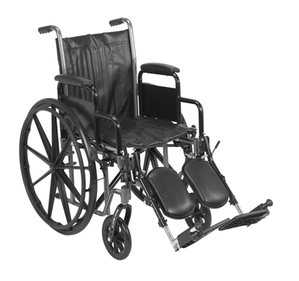 "Dual Axle Wheelchair-16"" - Removable Desk Armrest, Swing Away Elevated Footrest"