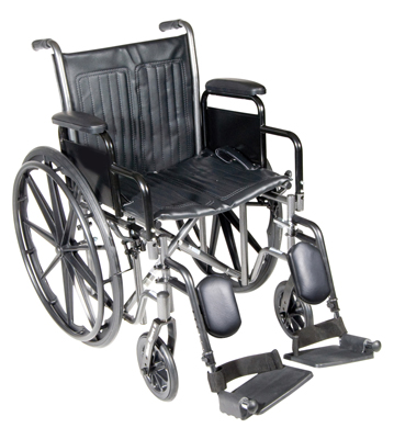 "Dual Axle Wheelchair-18"" - Detachable Desk Arm, Swing Away Elevated Footrest"