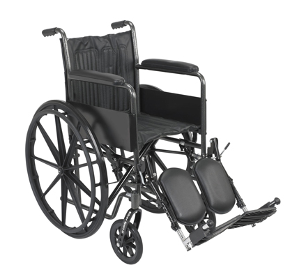 "Dual Axle Wheelchair-16"" - Fixed Arm, Swing Away Elevated Footrest"
