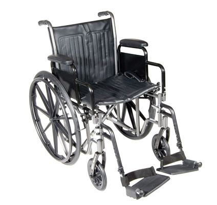 "Dual Axle Wheelchair-16"" - Removable Desk Armrest, Swing Away Footrest"