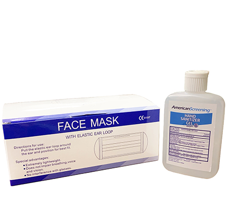 3 Ply Earloop Mask With Free Bottle of 4oz Sanitizer