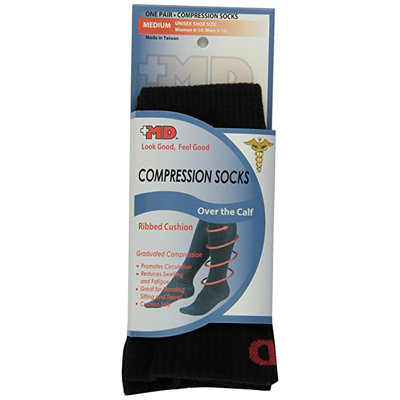 Ribbed Cotton Compression Socks-With Cushion  Large Black