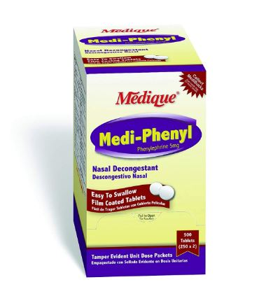 Medi-Phenyl Nasal Decongestant Tablets, 250-Packets of 2 <span style='color:red;'>EXP: 10-31-2021</span>