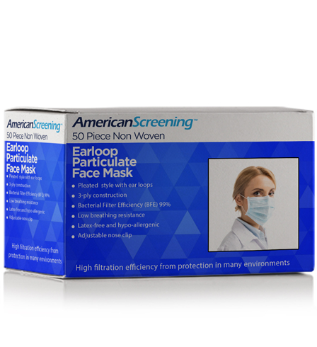 Earloop Particulate Face Mask 50/Box  <span style='color:#1ea61e;'> - Available to Ship</span>