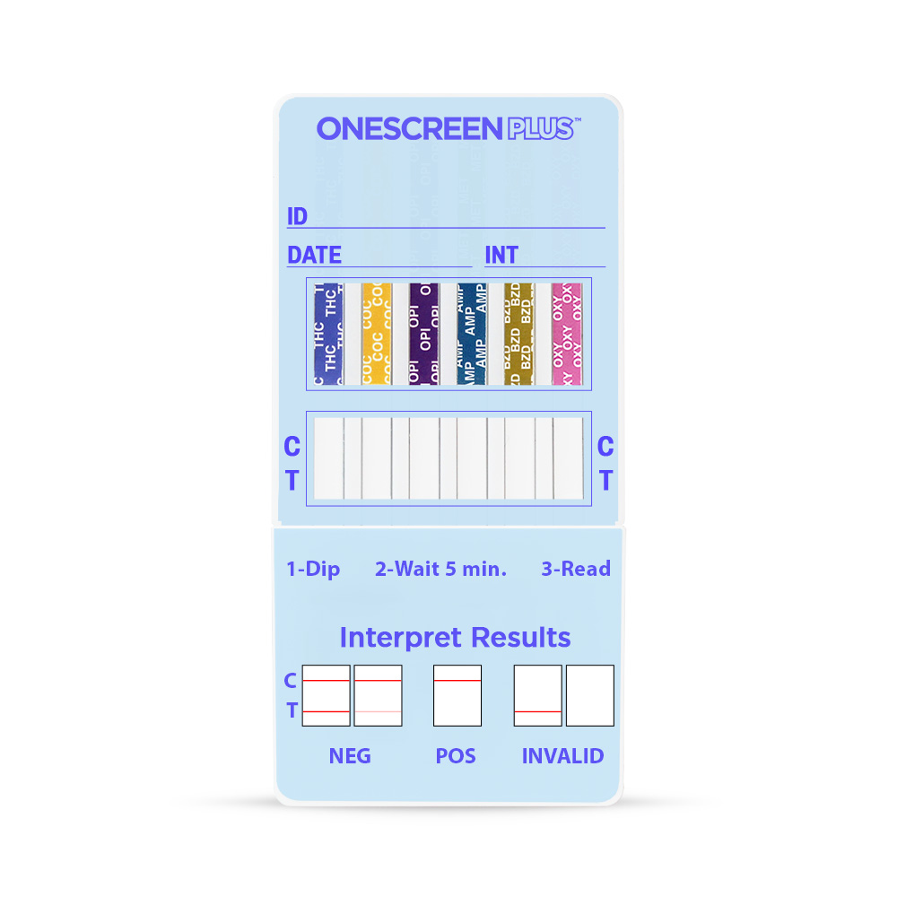 Onescreen - 12 Panel Urine Dip Card <span style='color:red;'>EXP: 11-30-2020</span> <span style='font-size:11px; color:#7d7d7d;'><br>THC, COC, AMP, OPI300, PCP, BAR, BZO, MTD, MDMA, OXY, TCA, APAP</span>