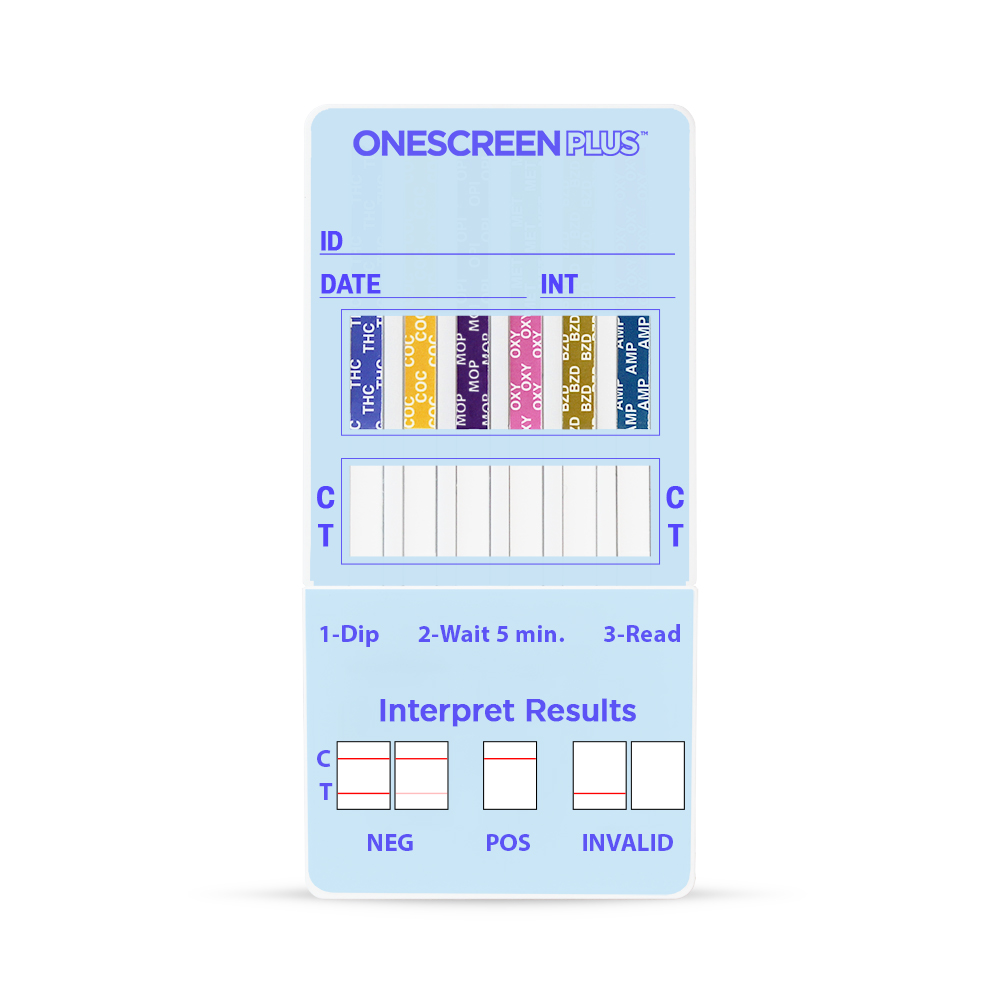 Onescreen - 7 Panel Dip Card <span style='color:red;'>EXP: 6-30-2021</span><span style='font-size:11px; color:#7d7d7d;'><br>THC, COC, AMP, MOP, BZO, OXY, BUP</span>