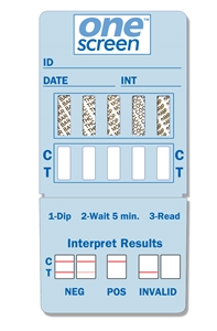 SHORT DATED / ONESCREEN 10 PANEL URINE DIP CARD  - (THC/COC/AMP/OPI300/mAMP/PCP/BAR/MTD/PPX/BZO) (EXP 6/30/17)