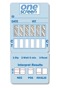 ONESCREEN 12 PANEL DIP CARD  - (THC/COC/AMP/OPI300/PCP/BAR/BZO/MTD/MDMA/OXY/TCA/APAP) - EXPIRES 12/31/2018