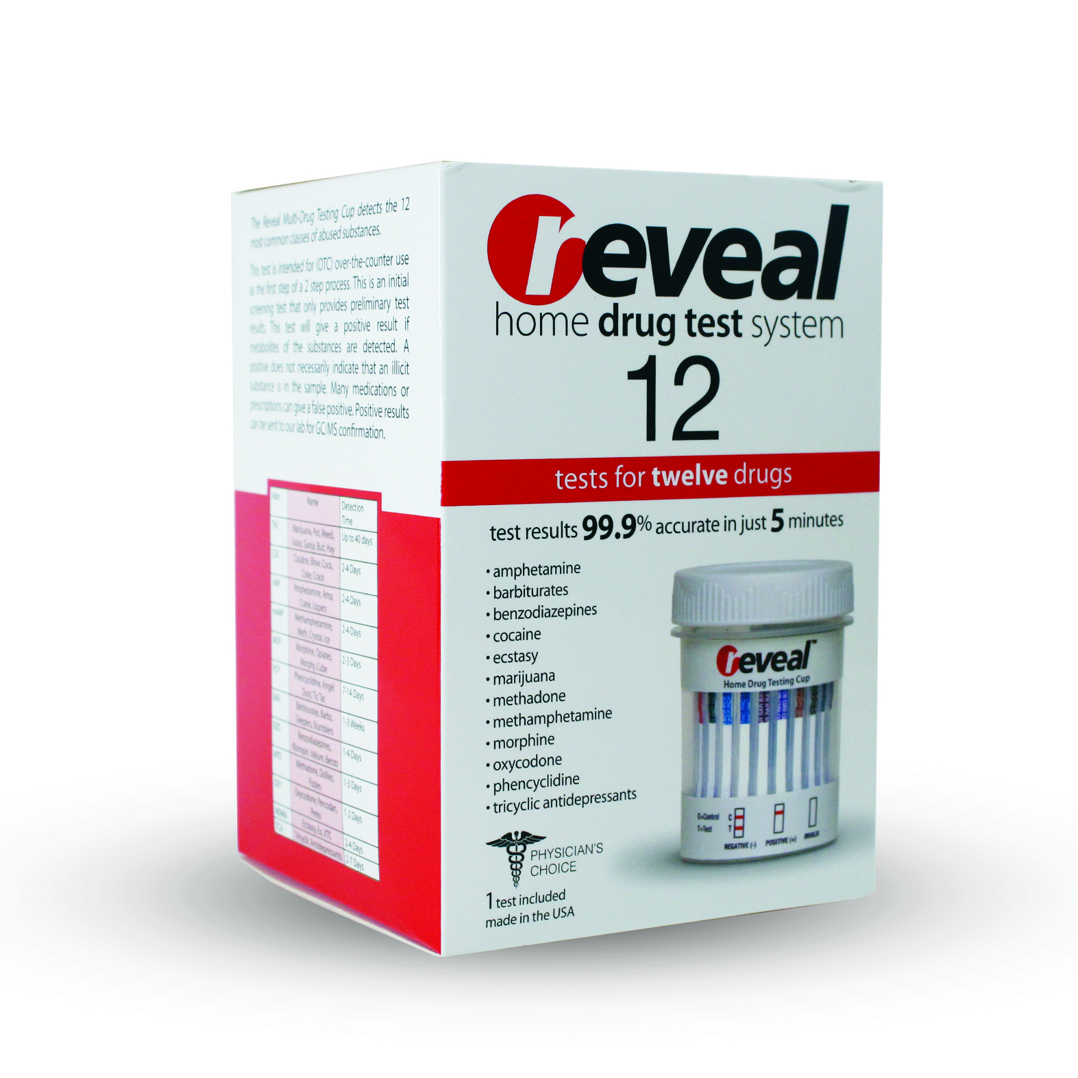 REVEAL - 12 Panel Cup (AMP/THC/MAMP/OPI/PCP/BAR/BZO/MTD/OXY/MDMA/TCA/COC)w/out confirmation