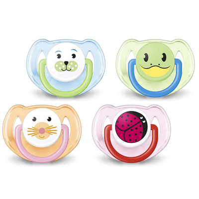 "Animal Soother (6-18 Mo's) 2-Pk "" BLUE, GREEN, ORANGE, or PINK"" (Mixed)"
