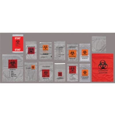 6 X 9 - DUAL POUCH -  ECONO-ZIP SPECIMEN TRANSPORT BAGS - ORANGE/BLACK - ABSORBANT PAD INCLUDED