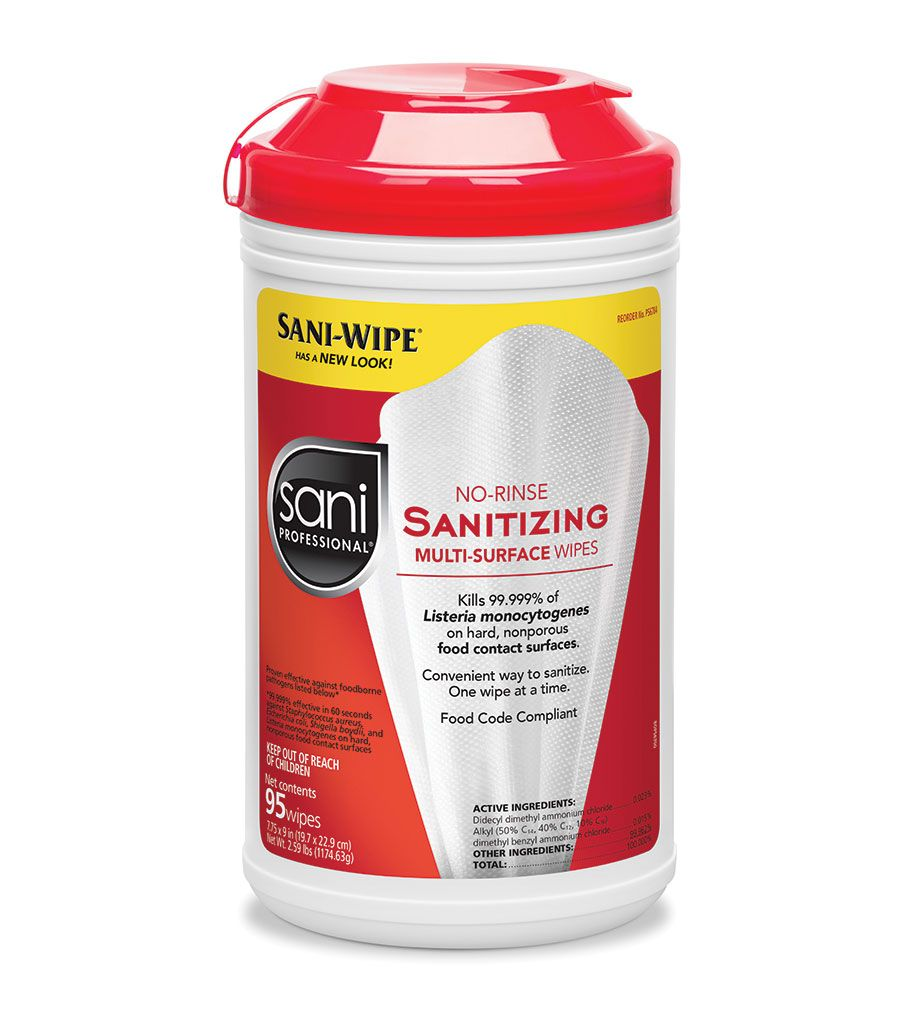 No Rinse Sanitizing Sani-Wipes Cannister  (95 wipes per cannister)