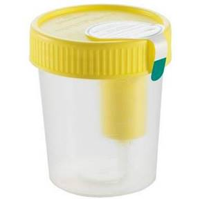 120 mL Labelled Urine Beaker with Integrated Transfer Device, Yellow Lid, CE