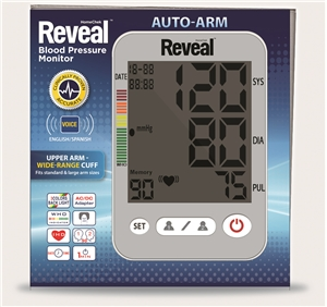 REVEAL ARM BLOOD PRESSURE MONITOR W/ ENGLISH/SPANISH BOOKLET (BATTERIES NOT INCLUDED/REQ 4, AA BATTERIES)